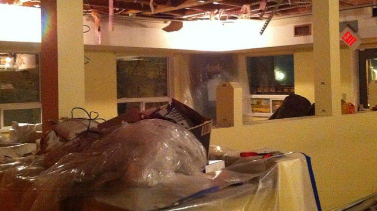 Water damage at Trek restaurant