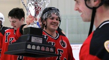 Pete Mercredi with Memorial Hockey Challenge Trophy