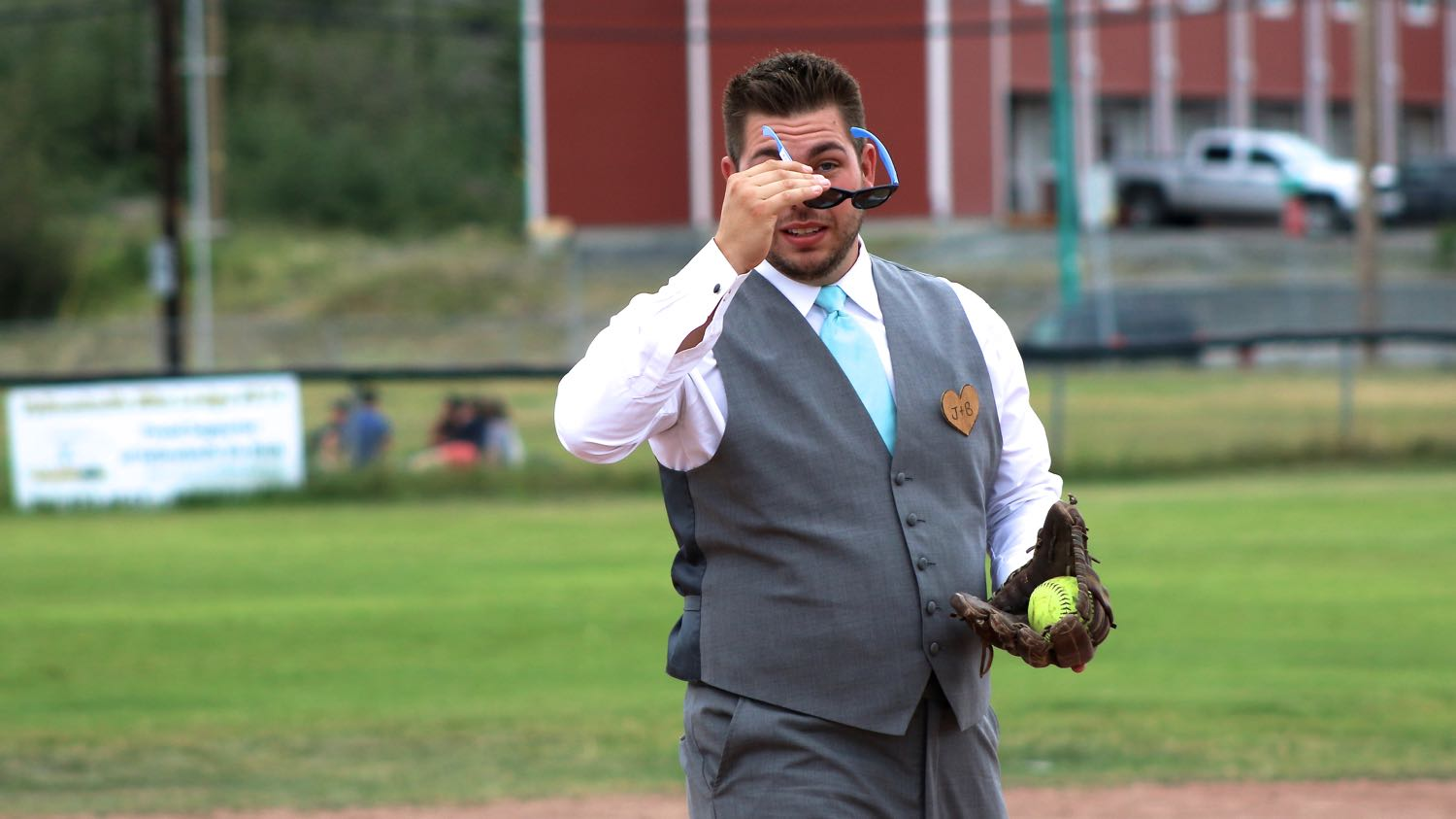 Wedding party plays softball