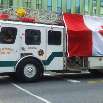 Fire truck in Yellowknife Canada Day parade, 2015