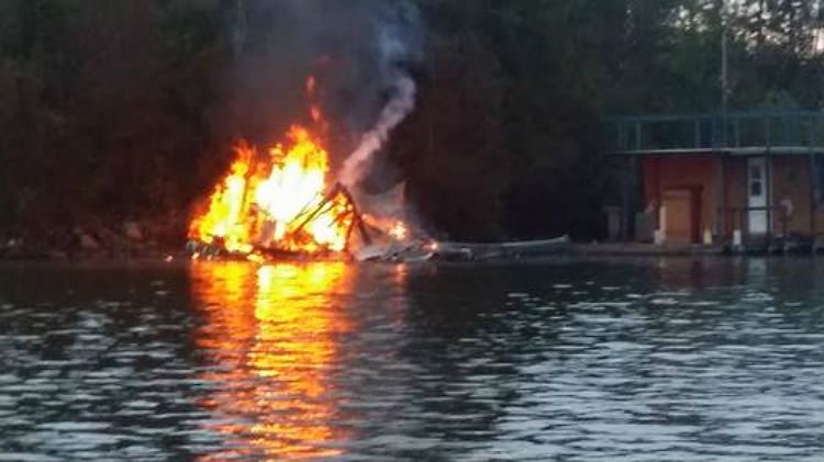 Houseboat fire