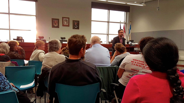 Mark Heyck addressing residents