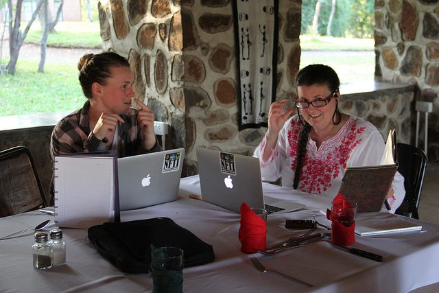 Kim Rapati, left, and Jackie Milne during their 10-day trip to Zimbabwe.