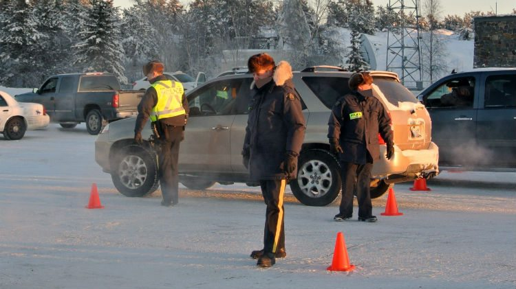 Police perform a roadside check in Yellowknife.