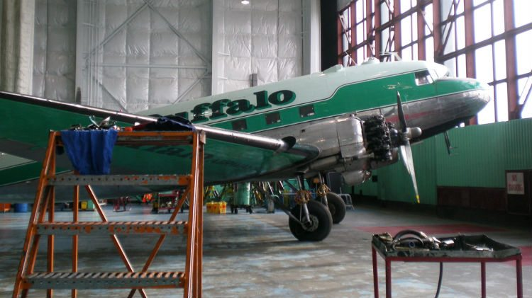 Buffalo Airways aircraft in hangar