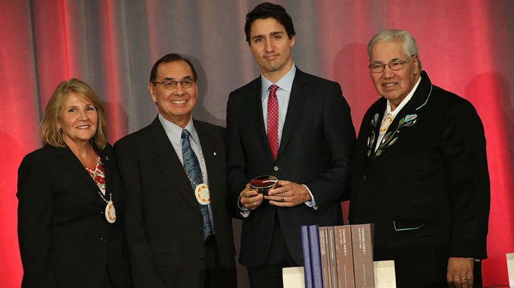 Truth and Reconciliation Commissioners with Prime Minister Justin Trudeau
