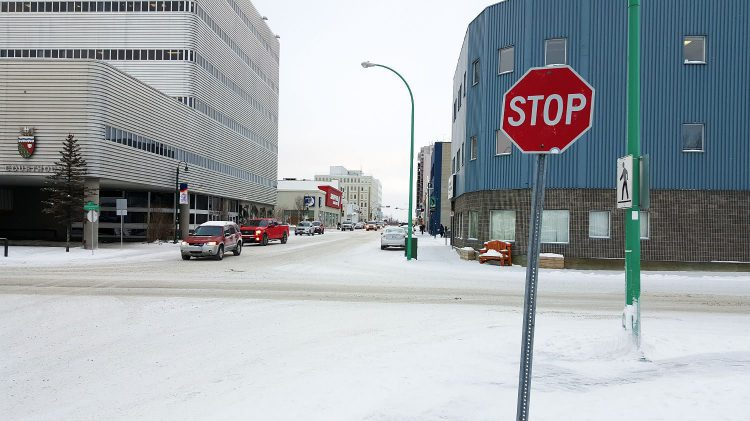 Yellowknife's 49th St and 49th Ave intersection