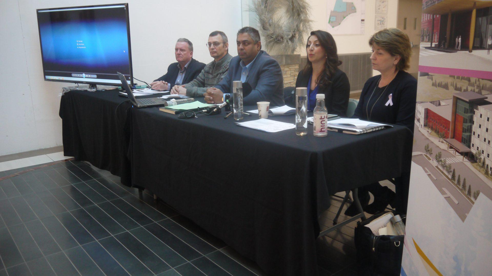 Patrick Cannon, left, Mike Burns, Sandy Kalgutkar, Jeannie Dhaliwal and Sue Cullen led Thursday's technical briefing.