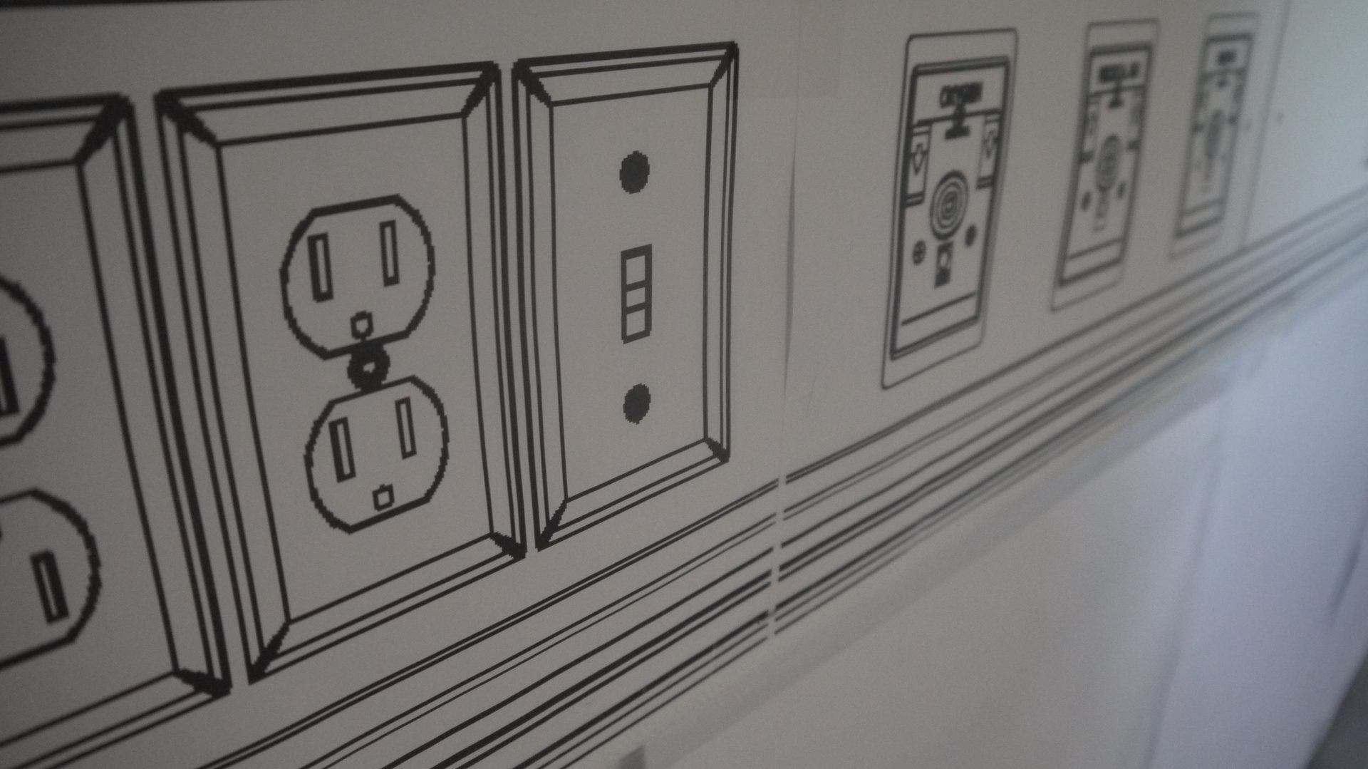 Power outlets featured in one of the mock-up units.