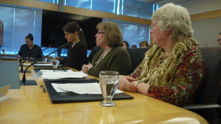 Laura Boileau, left, Lorraine  Phaneuf and Lyda Fuller delivered a presentation to MLAs on Wednesday.