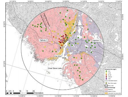Concentrations of dissolved arsenic in surface water of lakes within a 30 km radius of Yellowknife (GNWT).