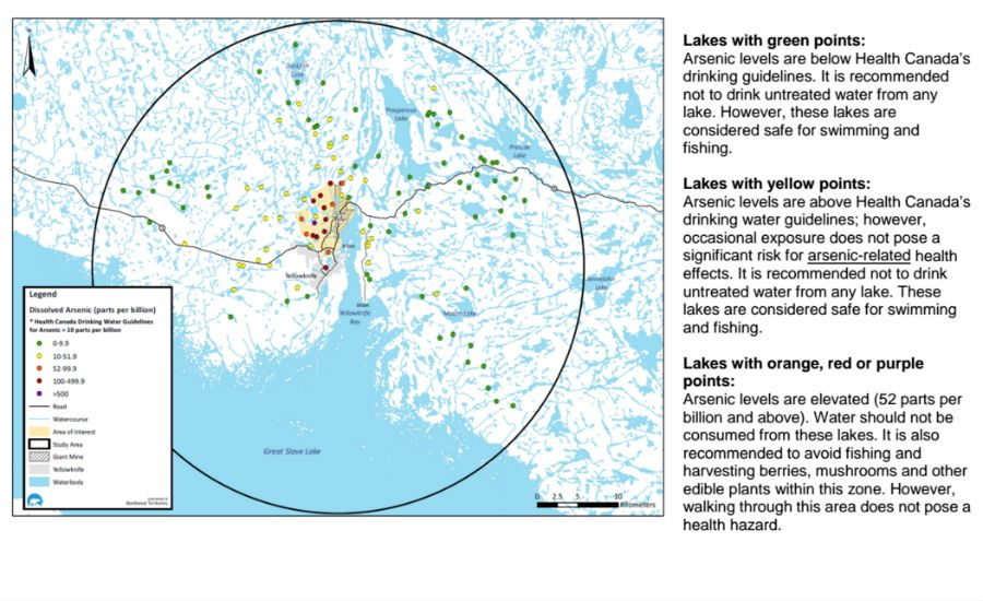 Map of arsenic concentrations in lakes surrounding Yellowknife.