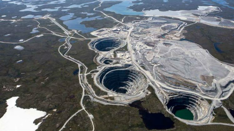 The Ekati diamond mine, located roughly 310 kilometers northeast of Yellowknife.