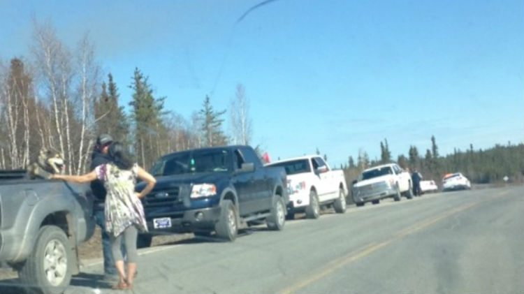 RCMP block off access to a road off the Ingraham Trail.