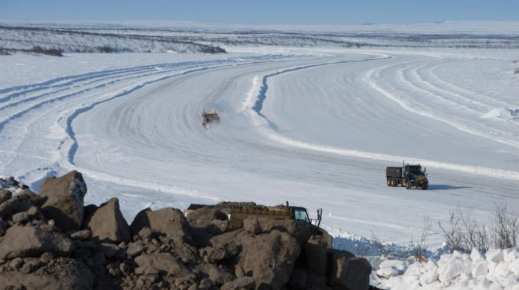 Crews work on the Inuvik Tuktoyaktuk Highway. Photo courtesy: GNWT Department of Transportation