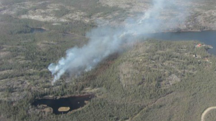 An aerial shot of the wildfire that broke out near Madeline Lake May 14. Photo courtesy: NWT Fire on Facebook