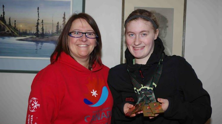 Cynthia Simmons, right, and her mom celebrate her four gold medals at this year's Special Olympics Canada Winter Games.