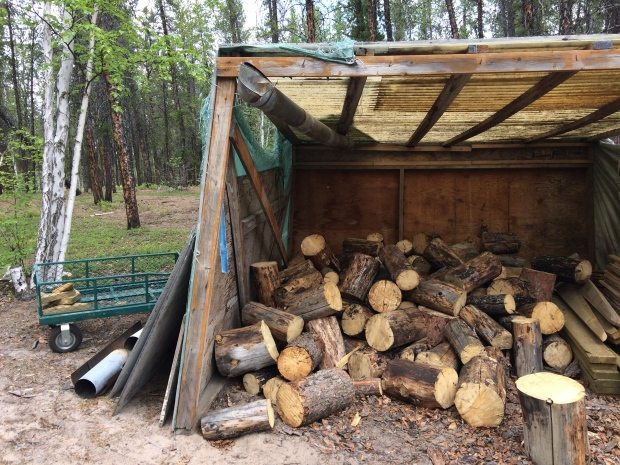 The wood pile after last week's theft (Photo by Nicole Garbutt)