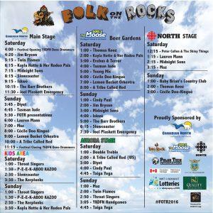 Schedule courtesy of Folk on the Rocks.