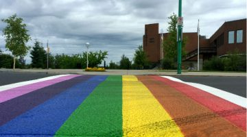The city unveiled two pride-coloured crosswalks on Wednesday.