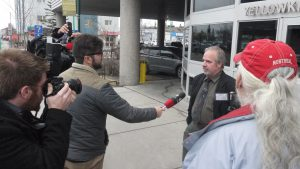 John McFadden speaks with reporters outside the Yellowknife courthouse following Friday's decision.