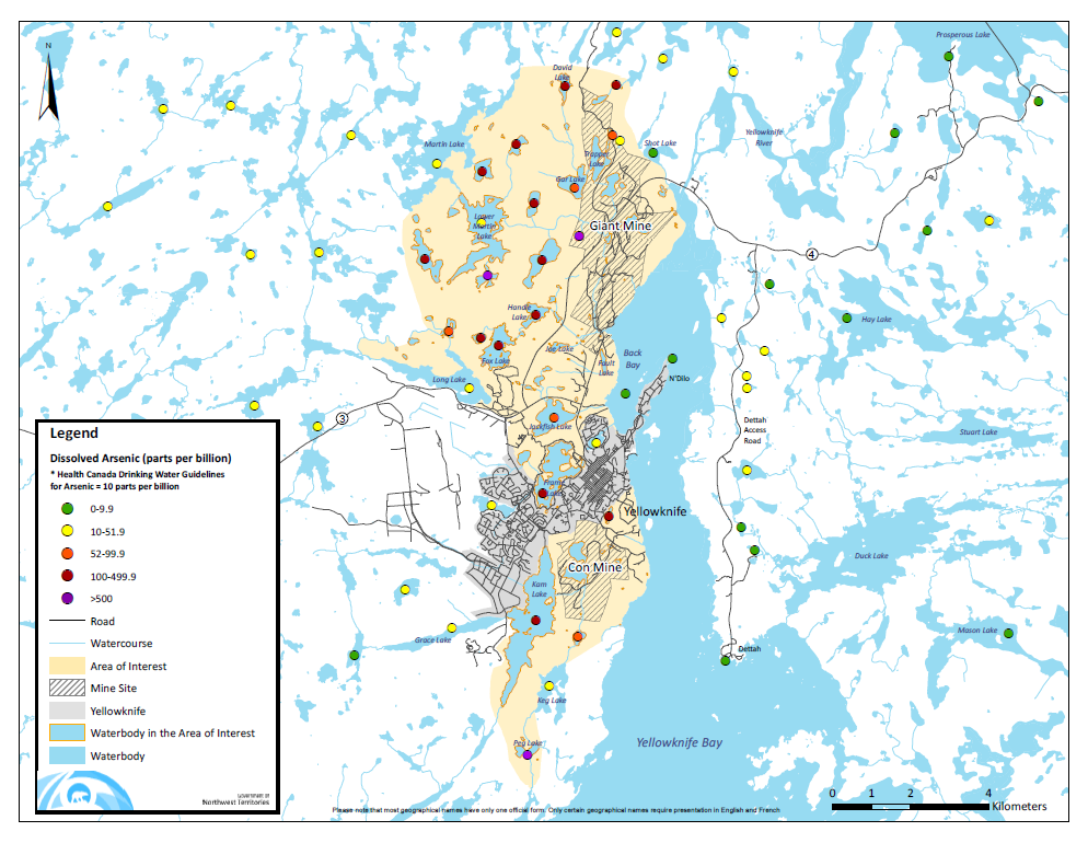 Map Of Canada Yellowknife.Update On Arsenic Concentrations In Lakes Around Yellowknife My