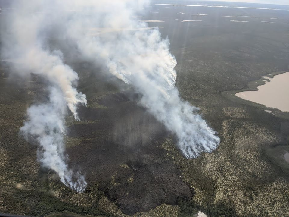 Fire just outside of Inuvik. Photo from ENR.