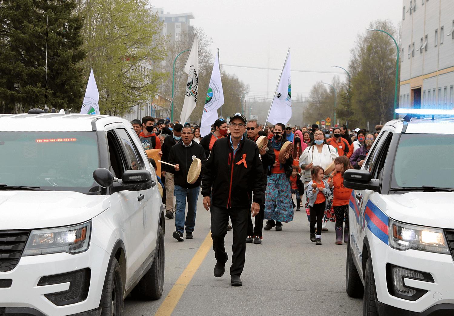 IN PHOTOS: Large crowd attends memorial walk for Kamloops 215
